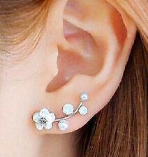 Ear Crawler Earrings Pearl & Shell Flowers Cuff Climber Vine Hook NEW Jewelry