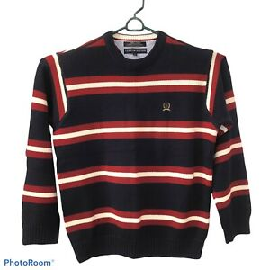 Vintage Tommy Hilfiger Men's Sweater, red, white, blue, striped Crest Emblem L