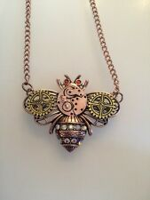 New Steampunk Gears Bee Insect Rose Gold Metal Pendant Necklace