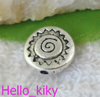 40Pcs Tibetan silver spiral flat round spacers beads A9736