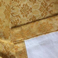 MID CENTURY Vtg curtains drapes HOLLYWOOD REGENCY gold damask 2 panel vinyl