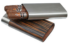 Stainless Steel 3 Finger 56 Ring Gauge Cigar Case Holder Wrapped in Ebony Wood