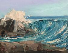 HIGH TIDE BREAKER Original Expression Art Seascape Oil Painting 11x14 110318 KEN