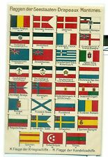 BANDIERE MARITTIME, Militari & Mercantili - Cartolina del 1920 circa