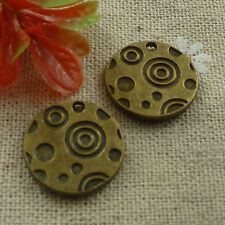 Free Ship 140 pieces Antique bronze round charms 18mm L-1064
