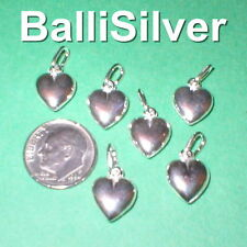 6 pieces Sterling Silver 925 Small 11mm HEART Charm Pendants Lot