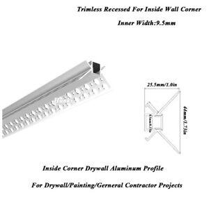 44X25.5mm Inner Corner Wall Profile Trimless Recessed Inner Width 9.5mm