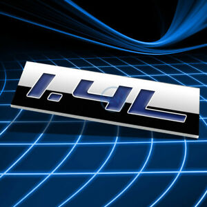 METAL 3D EMBLEM DECAL LOGO TRIM BADGE STICKER POLISHED CHROME BLUE 1.4L 1.4 L