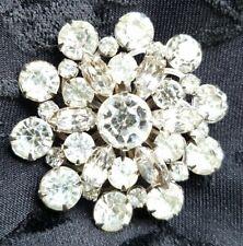 """Vintage High End Floral Brooch Pin 2"""" Crystal Rhinestones"""