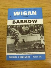 23/09/1967 Rugby League Programme: Wigan v Barrow  (Team Changes). Thanks for ta