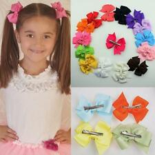 10Pcs Lots Boutique Big 8cm Girls Baby Hair Bows With Alligator Clips Grosgrain
