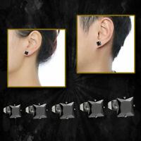 Glossy Fun Black Square Cubic Zirconia Genuine 925 Sterling Silver Stud Earrings
