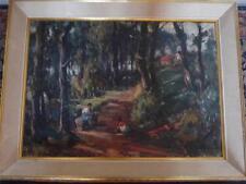 Striking Mid Century Retro Impressionist School Oil on Canvas Painting Woodland