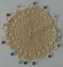 Hand Crochet Beaded Jug Cover Cotton Handmade Ecru Fine Lace 6 Inch Cream New