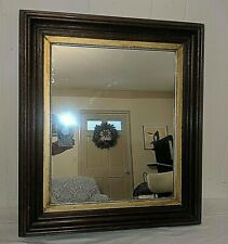"Gorgeous Antique 1800's Gilded Insert Black Walnut Framed Mirror 23"" x 20"""