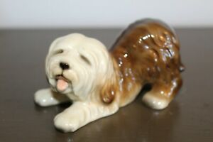 Made in Japan Sheepdog Cute Fine Porcelain Glazed Dog Figurine in Play Bow