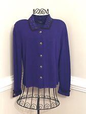 Dylani Women's Small Blue-Violet Fine Knit Sweater Jacket Top Leopard Print