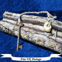 Hag Stone and Key - Wicca, Witch, Pagan, Protection, Antique, UK Yorkshire Made