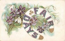 Pretty Violets & Snowdrops Around Horseshoe-Titled Fair Days - 1909 Postcard