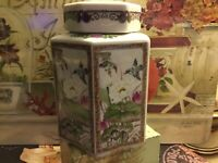 "Andrea By Sadek-Octagonal Shaped-Ginger Jar-5.25""H-Hummingbirds/Florals-Sealed-"