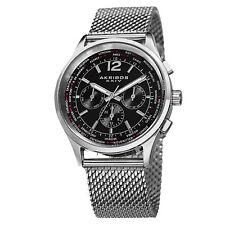 Akribos XXIV AK716SSB Mens Explorer Swiss Multifunction Steel Mesh Watch
