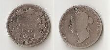Canada 25 cents 1880 Narrow 0 Holed Rare!