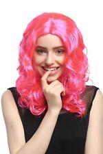 Perücke Damen Karneval lang Volumen Locken lockig Mittelscheitel rosa pink