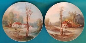 Two Plates Decorative Limoges Porcelain Hand Painted