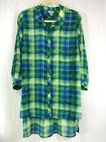 Plus Catherines Blue Green Check Plaid Blouse Hi-Lo Hemline Tab Sleeve 2X 22/24W