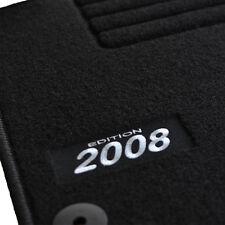 4 TAPIS SOL MOQUETTE LOGO BLANC SUR MESURE PEUGEOT 2008 FELINE ACTIVE ALLURE