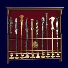 HARRY POTTER COLLECTOR HOGWARTS 10 WAND WOOD WALL DISPLAY CASE no wands included