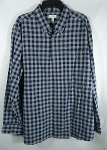 Men Woven Shirt XXL Chest Pocket Cotton Gray Blue Plaid