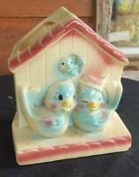 Vintage Shawnee Pottery USA 830 Family of Blue Lovebirds Wall pocket Planter