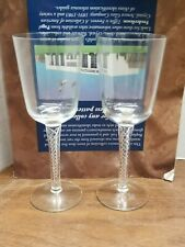 """7 1/4"""" Air Twist Goblet w/ Ogee Bowl and Multiple Opaque Spirals - Set of 2"""
