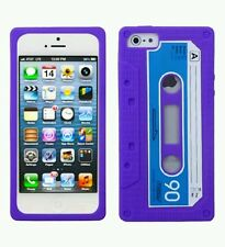 Apple iPhone 5/5S Purple Retro Cassette Tape Skin Soft Rubber Silicone Case New