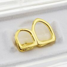 Open Face Double Tooth Grillz 14k Gold Plated Top Two Right Canine Teeth Caps
