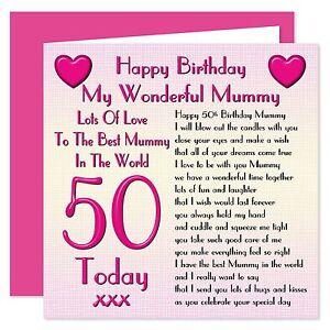 My Wonderful Mummy Happy Birthday Card - Age Range 18 - 50 Years - Lots Of Love