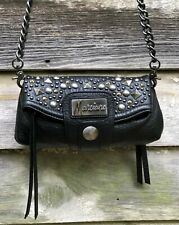 MARCIANO Guess Black STUDDED Pebbled Leather CHAIN Tassel Shoulder Bag S (Offer)