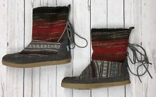 Toms Sz 6 One For One Nepal Aztec Indian Blanket Suede Fleece Ankle Women Boots