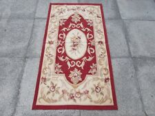 Old hand made design francese Lana Maroon Rosso ORIGINALE Aubusson 145X78cm 5x3
