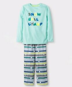 Cat & Jack 2pc Long Sleeve Snow Ball Champ Graphic Pajama Sets Green S-L NEW