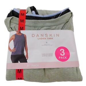 Danskin Women's Medium Shirts 3-Pack Hi-Low Tank Sleeveless Green, Black, & Blue