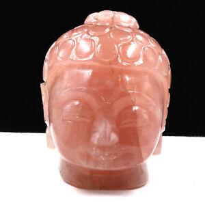 NATURAL ROSE QUARTZ BUDDHA HEAD 6240 CARATS GEMSTONE STATUE FOR HOME DECOR