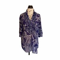 New York Company Size Medium Blouse Tunic Sheer Blue Button Down Ruffle Floral