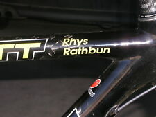 "Custom Name Decal Sticker Triathlon Road Bike 1""x 2.75"""