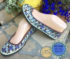 KEDS Eleanor Size 7 Blue Green Apples Birds Ballet Flats Sneakers Canvas Mint!