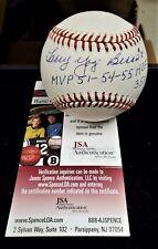 Larry Yogi Berra MVP HOF 72 Autograph Signed MLB Rawlings Baseball JSA Certified