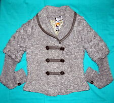 NWT Desigual Gray/White Braid pattern Sweater Coat L/44 $259