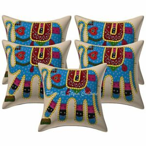 """16"""" Indian Elephant Throw Pillowcases Cotton Applique Patchwork Cushion Covers"""