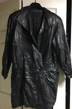 Leathercraft Process Black Soft Leather Lined Womens Button Front Jacket MEDIUM